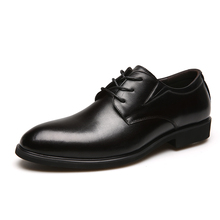 Genuine Leather Derby Shoes Men Business Casual Shoes Black Cow Leather Pointed Toe Dress Shoes Mens Wedding Burgundy Calcados