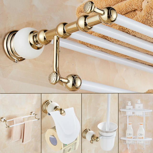 Badezimmer Zubehor Set Neue Messing Und Jade Weiss Gold Papier Halter Handtuch Bar Seife Korb Handtuch Rack Haken Bad Hardware Set