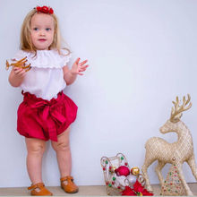 AU Toddler Baby Girl Kid White Lace Tops + Bow Red Pants Shorts Summer Outfits Clothes Set