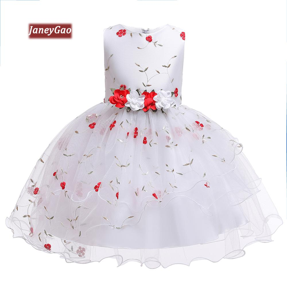 JaneyGao   Flower     Girl     Dresses   For Wedding Party   Girls   Formal Tulle Pageant   Dress   Embroidery   Girls   Communion   Dresses   Ruffles 2019