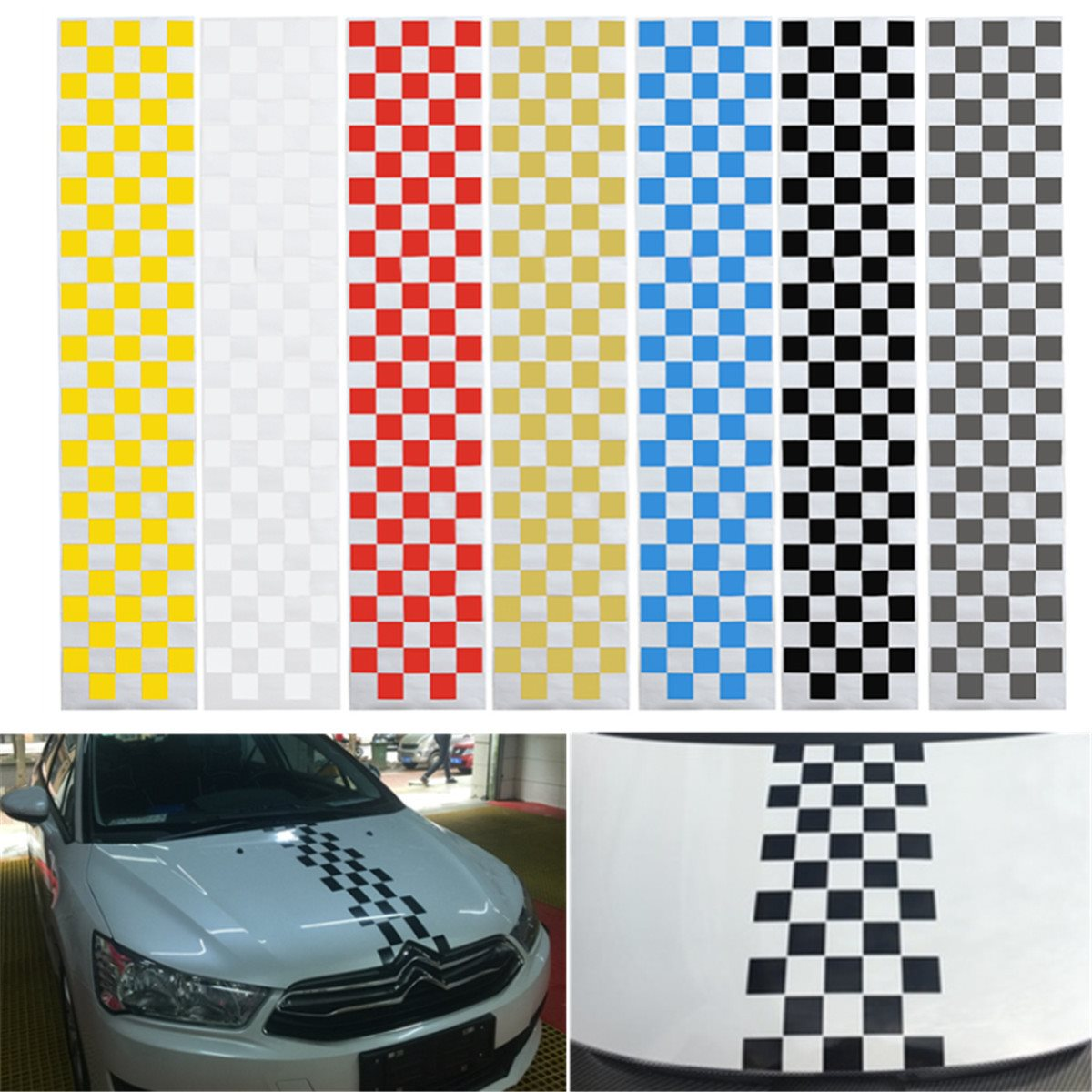 Car Auto SUV Hood Scratched Check Stickers Engine Cover Styling Decal Vinyl DIY Decoration PVC 7Colors ltd111ewax for vgn tz 11 1 wxga hd led slim 100