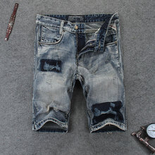 Italian Style Summer Mens Jeans Shorts High Quality Frayed Ripped Jeans For Men Denim Shorts Retro Vintage Printed Short Jeans недорого