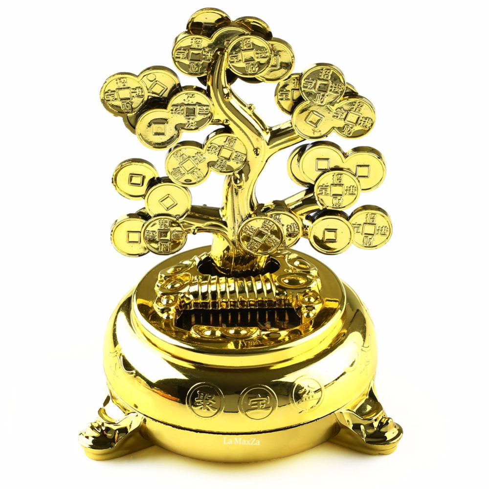 NEW Solar Powered Money Tree Desk Car Dancing Flip Flap Decor Chinese Feng Shui Toy