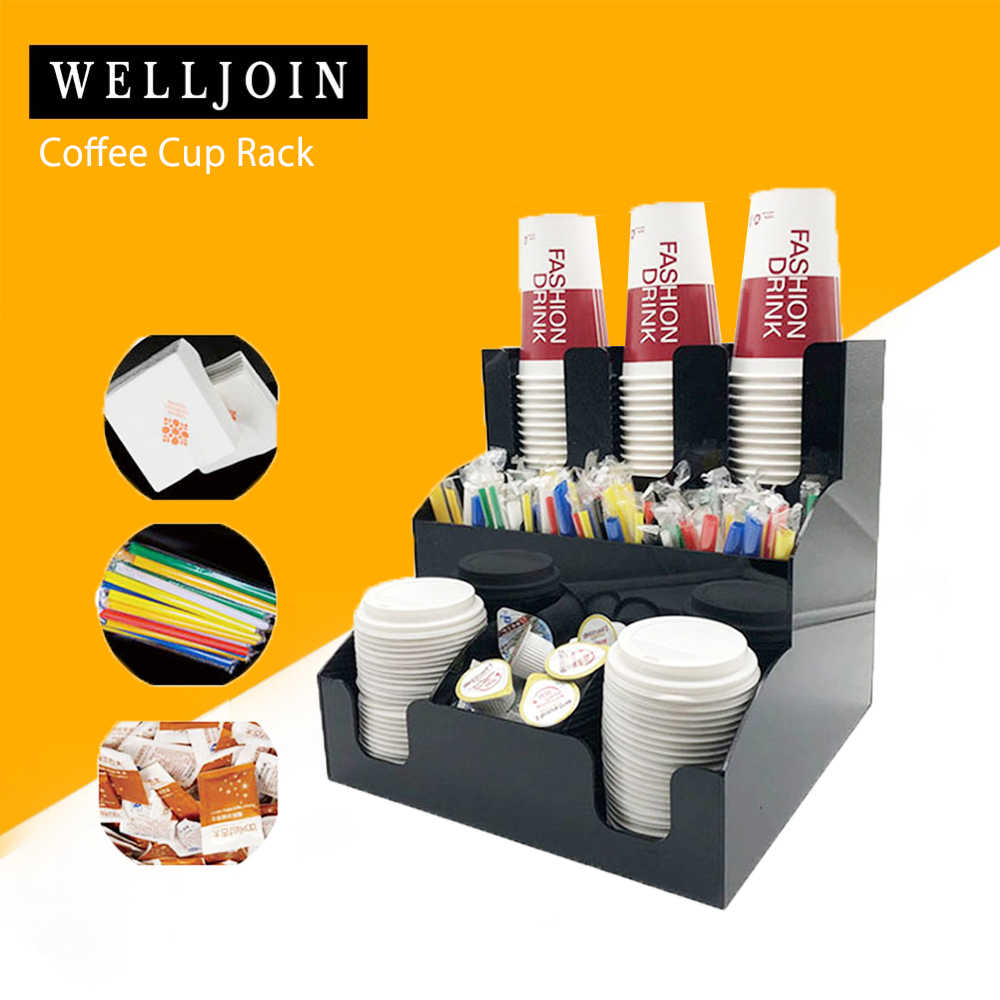New Cup&Lid Dispenser Organizer Coffee Condiment Holder Caddy Coffee Cup Rack new