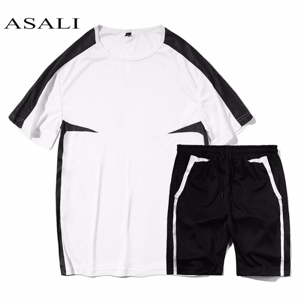 ASALI Summer Men Sportwear Sets Tracksuit Male Outwear Sweatshirts Patchwork Mens O Neck Collar Top Tee + Shorts Male Tracksuit