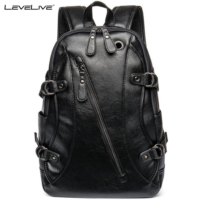 LeveLive Fashion Men's Travel Backpacks PU Leather Bag Brand 15.6inches Laptop Backpack Men Bagpack Casual knapsack Male Mochila design male leather casual fashion heavy duty travel school university college laptop bag backpack knapsack daypack men 1170g