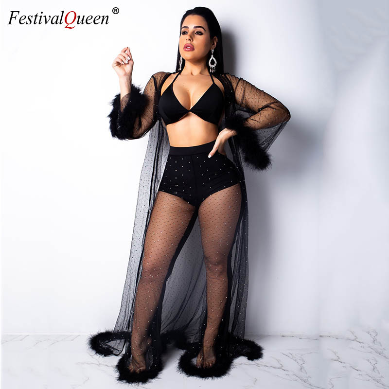 Women Summer See Through Mesh Rhinestones Fur Splice Set Festival Solid Loose Long Cloak Coat Bra