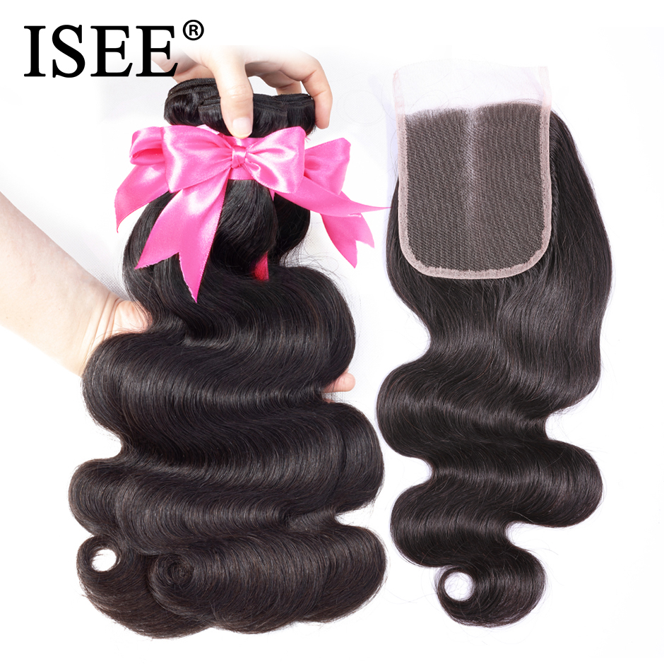 ISEE Human Hair Bundles With Closure 3 Bundles Body Wave With Closure Swiss Lace Hair Extension