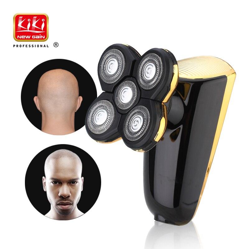 Afeitar eléctrica para 5D cabeza polaco pelo USB recargable 5 blade afeitar lavable 3D flotante máquina de afeitar