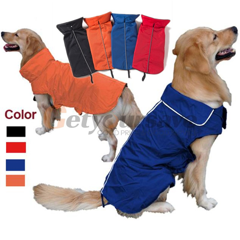 Dog Raincoat Waterproof Clothes Outdoor Rain Coat Jacket Coat Fleece Warm Reflective Safe