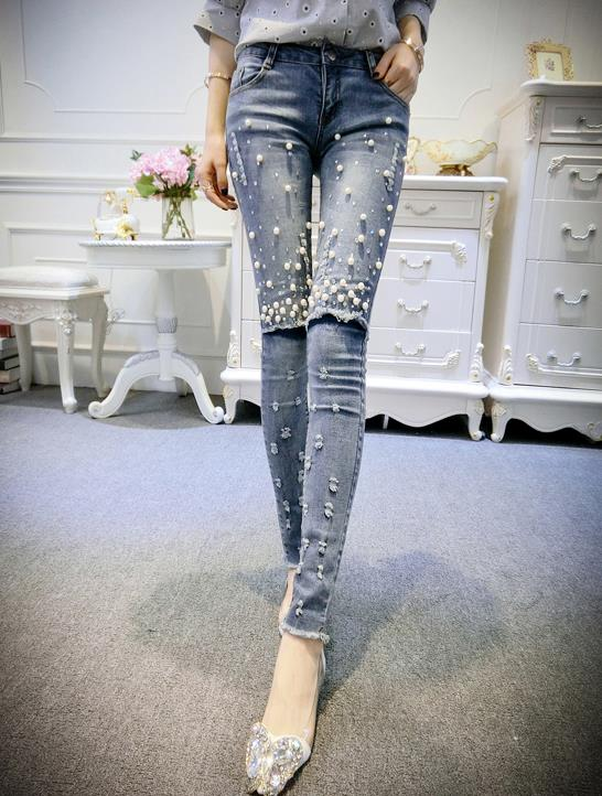 ФОТО Women 2017 Spring Summer Fashion Denim Jeans Woman Casual Skinny Beading Pants Female Pencil Pants s346
