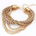 Bohemian Woven Gold Chain Bracelets Braided Rope Multilayer Bangles for Women Tassel Brazaletes Pulseira Christmas Gifts D0154