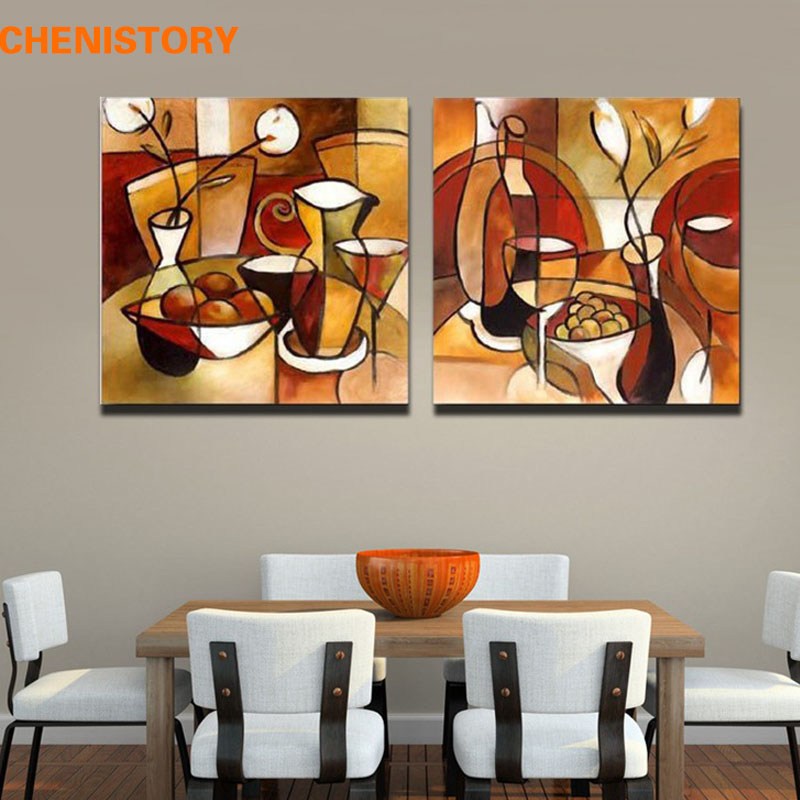 Unframed 2 panel handmade flower cup set abstract modern for Best brand of paint for kitchen cabinets with cheap contemporary wall art