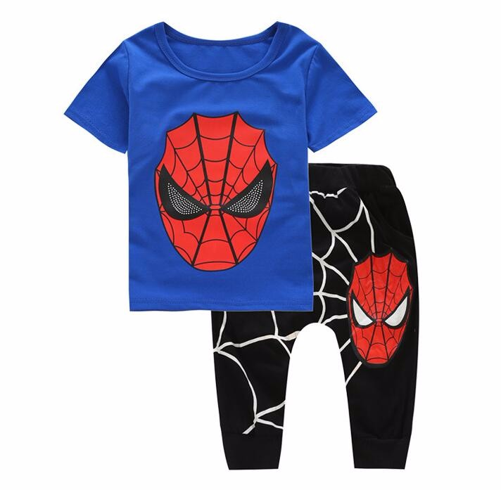2017 Summer Teenage Boys Clothing Sets Spider Man Kids Boys Clothes Sleeveless tShirt+knee length pants for baby boy 3-10 year spider man style surfing clothes for 3 10y little boys kids one piece beachwear swimwear high quality children clothing