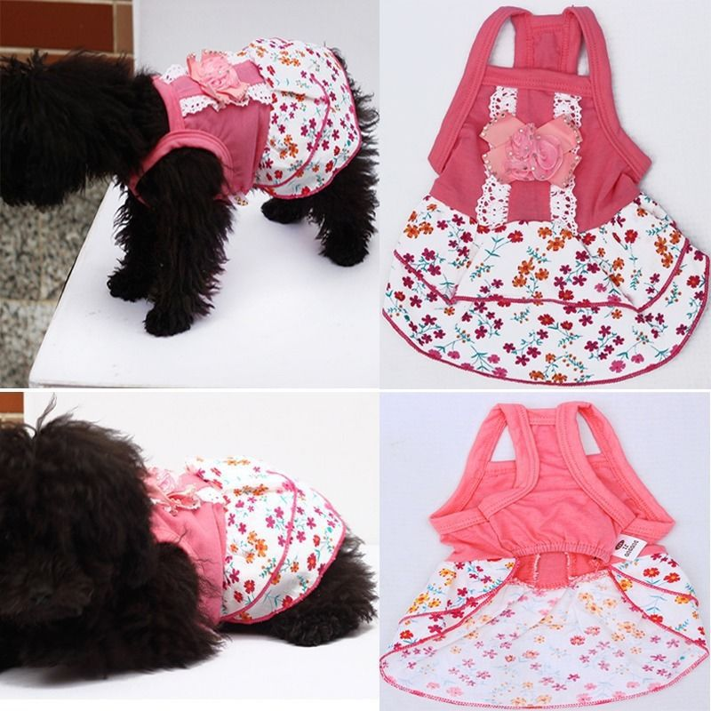 Hot Sales Dog Puppy Flower Skirts Dress Crystal Bowknot Lace Floral Pet Princess Clothes