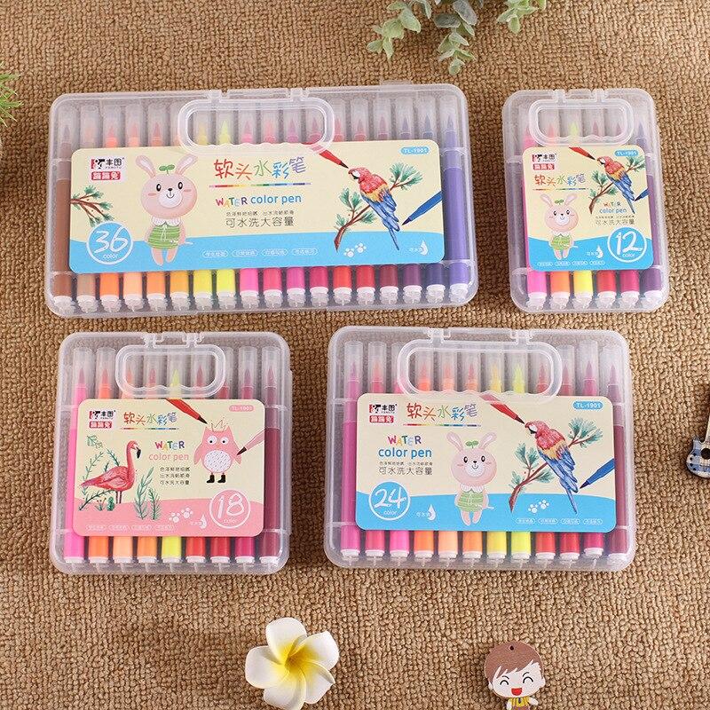 Coloffice 12/18/24/36 Colors Set New Soft Head Washable Art Marker Pen Graffiti Marker Student Painting Pen Non-Toxic Brush Pen
