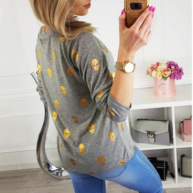 T Shirt Women Streetwear Autumn Skull Bronzing Print Tops Fashion Casual Long Sleeve Round Neck Slim Tee Shirt Femme Clothes (11)
