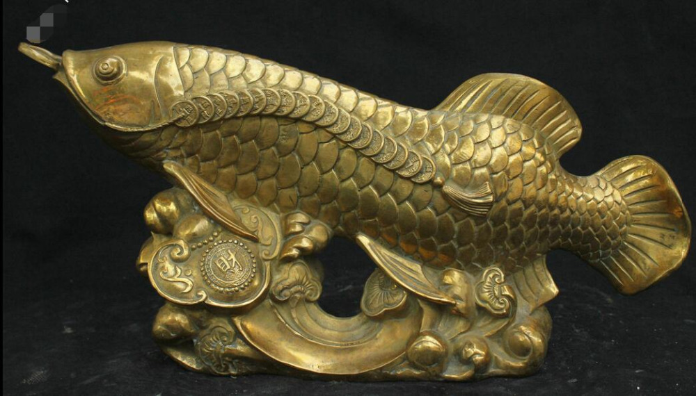 16 chinese fengshui brass bronze lucky ruyi coin arowana for Arowana tank decoration