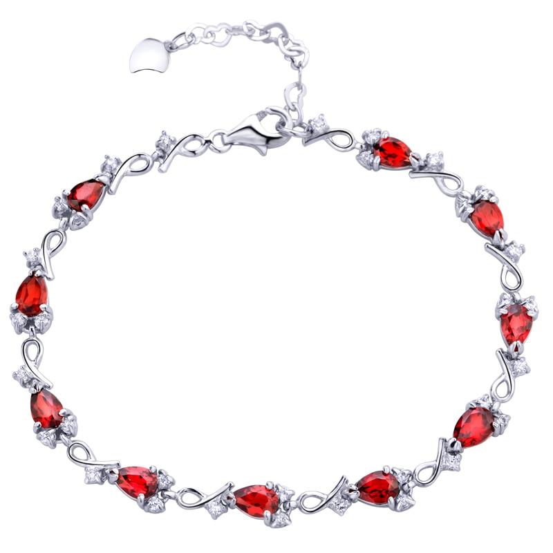 Free Shipping Women's jewelry natural red garnet gem Chain bracelet 925 Sterling Silver Rose birthday gift Birthstone SB0054G