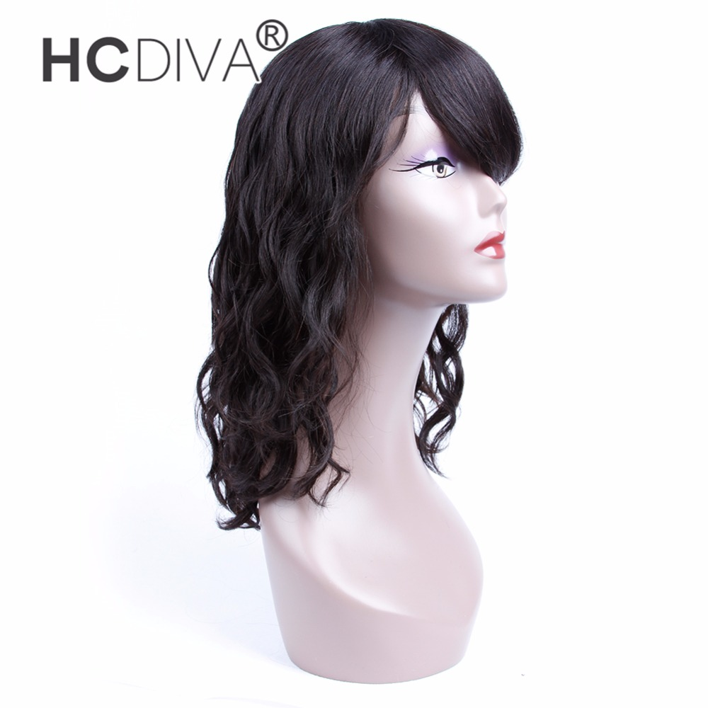 HCDIVA Brazilian Wigs Natural Wave Human Hair Wigs With Bangs 150% Density Natural Black Short Wigs Non Remy Hair Wigs 12 inch