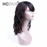 HCDIVA 12 Inch Non Lace Human Hair Wigs Natural Black Color Brazilian Non Remy Hair