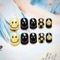 24 unids/set Uñas Postizas Negro con Amarillo Sonrisa estilo Francés Consejos De Exhibición Del Arte Del Clavo Pegamento Libre XCP YW-02