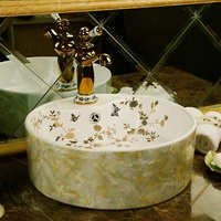 Waist drum shape art hand carved ceramic porcelain wash basin bathroom sink