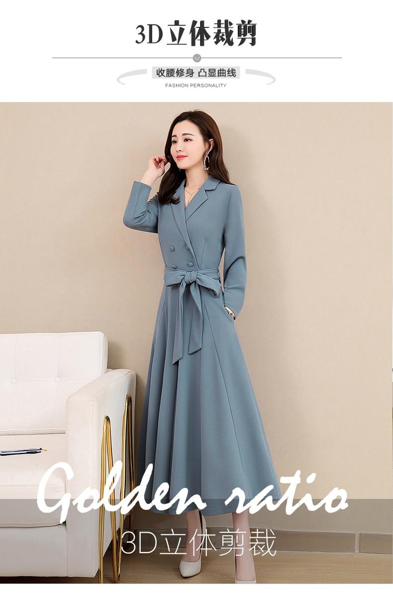 Spring and Autumn 2019 New Women's Dresses Korean Edition Long Sleeve Dresses Overlap Long Popular Temperament with Bottom 112