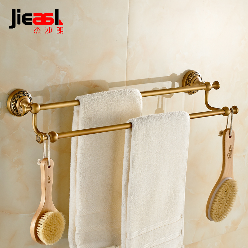 Jieshalang Antique Brass towel towel rack bar double rod European creative carved bathroom hardware accessories set