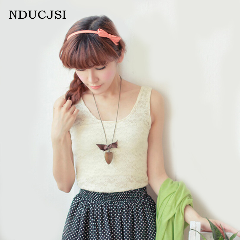 NDUCJSI 2017 Summer Sweet Solid Color Lace Tank Top Women Sleeveless Floral O Neck Camiso vest Female Sexy Fitness Short Tops