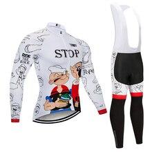 2020 만화 사이클링 저지 9D 바지 세트 MTB 자전거 의류 Ropa Ciclismo 겨울 열 양털 자전거 의류 Mens Cycling Wear