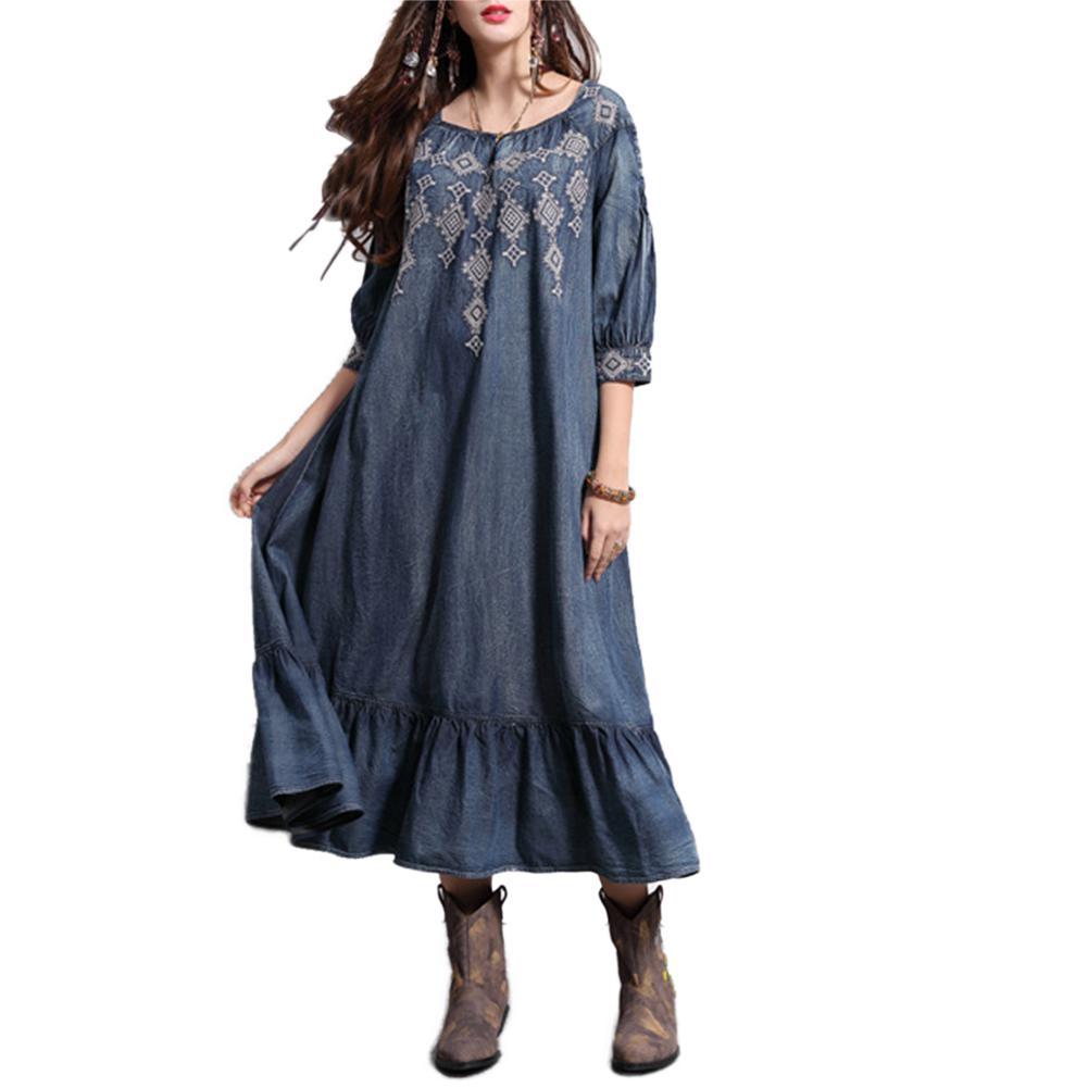 2019 nouveau Yfashion femmes rétro brodé volant lâche col rond robe en Denim