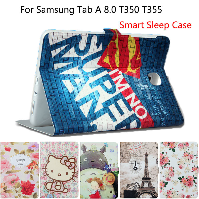Tablet Case For Samsung Galaxy tab A 8.0 T350 T351 T355 P350 Smart Case Cover Sleep Cartoon Print Silicon PU Leather Shell Funda luxury tablet case cover for samsung galaxy tab a 8 0 t350 t355 sm t355 pu leather flip case wallet card stand cover with holder