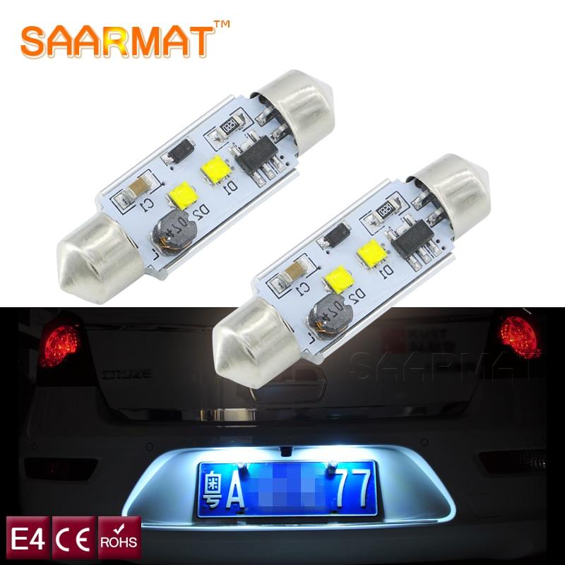 SAARMAT 2x C5W C10W <font><b>LED</b></font> Car 36mm bulb with Cree chips License Plate Lights Car Festoon Light 12V 6000K For <font><b>Skoda</b></font> Octavia <font><b>Superb</b></font>
