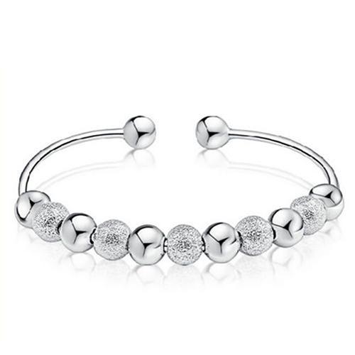 Women's Silver Plated Open Hand Cuff Bangle 9 Lucky Beads Bracelet Jewelry stainless steel bracelet luxury brand jewelry women