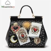 Newest Genuine Leather Women Handbag Shoulder Bags Luxury Brand Design Women Tote Bag High GradeTop Handle