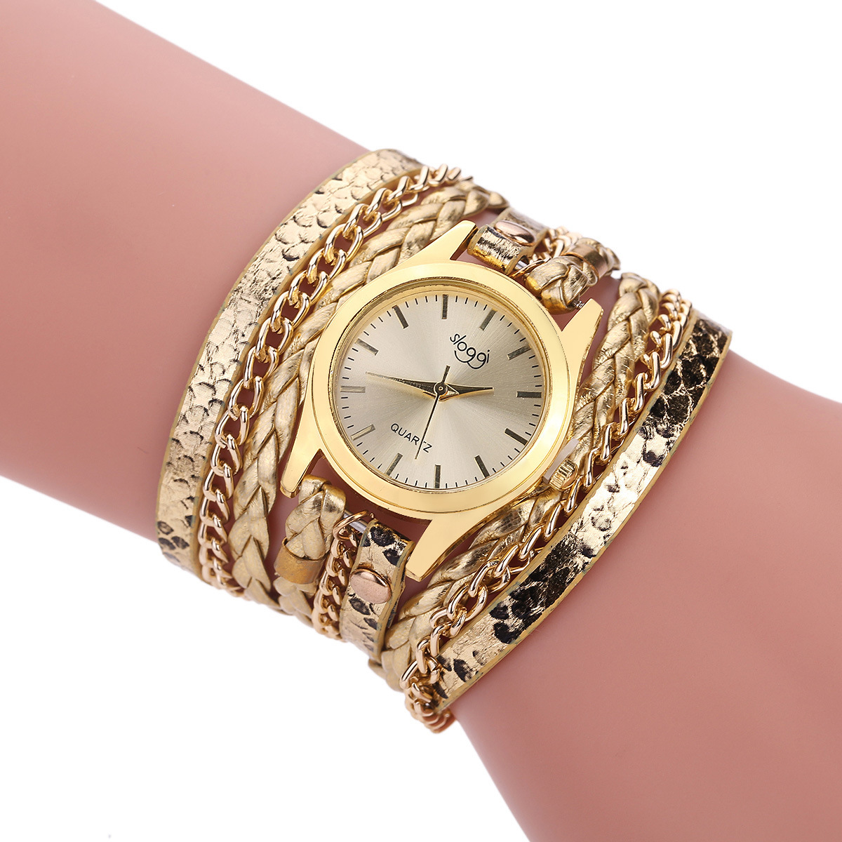 Quartz Weave Around Leather Cat Bracelet Lady Woman Wrist Watch Special Pattern Leather Wrist Watches Clock Bracelet Watch