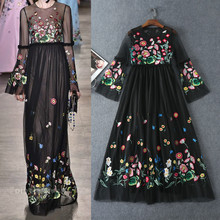 The new spring and summer 2017 Couture high-quality new embroidered dress fitting long sleeved dress slim big swing