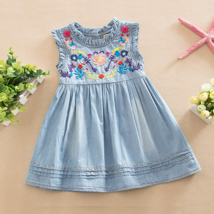 ecbaf0d95 Girls Denim Dress 2019 Princess Dress Embroidered Sleeveless High Quality  Casual Comfortable Brand Children's Clothing-in Dresses from Mother & Kids  on ...