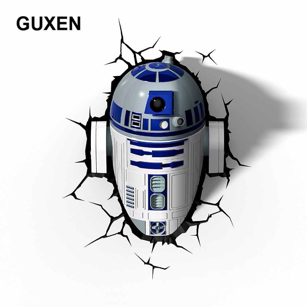 GUXEN 3D Deco LED Night Light Star Wars R2-D2 Deco TOYS Wall Sticker Lamp For Children Gifts Kids Home Bed LED Lamp Lighting цена