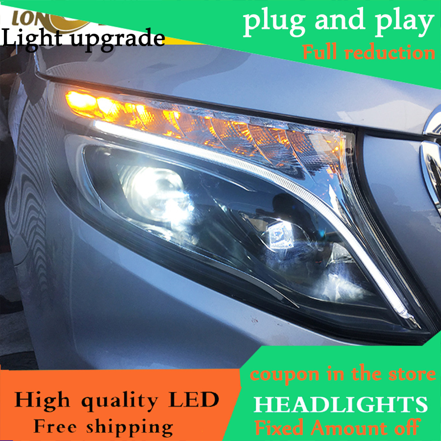 Car Styling for Benz vito Headlights 2016 2018 Benz vito LED Headlight DRL Lens Headlamp H7