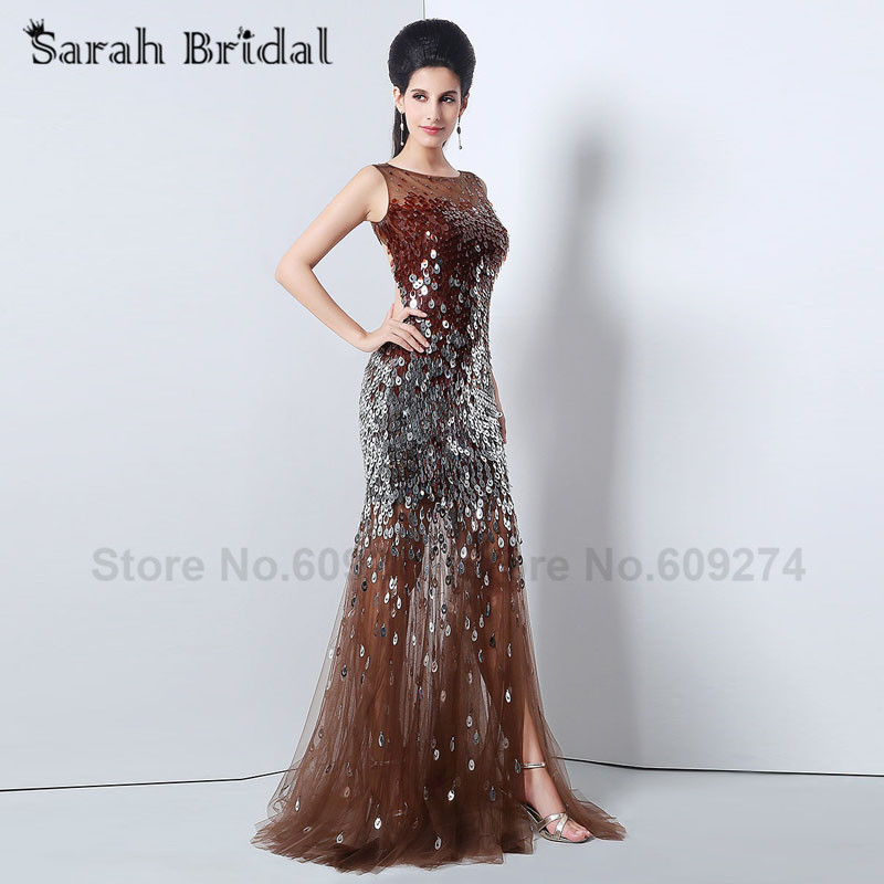 2015 Brown Tulle Backless Long Prom Dresses vestidos de festa longo formatura Silver Sequined Mermaid Evening Dresses JS010