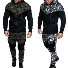 2018 New Camouflage Printed Men Set Causal Patchwork Jacket Men 2Pcs Tracksuit Sportswear Hoodies Sweatshirt Pants Suit(China)