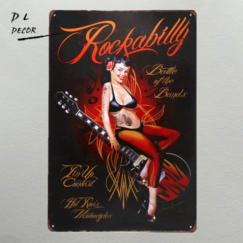 DL-Rockabilly Metal Sign Vintage Home Decor garage væg kunst pin up plakat kaffe bar tegnet væg klistermærke