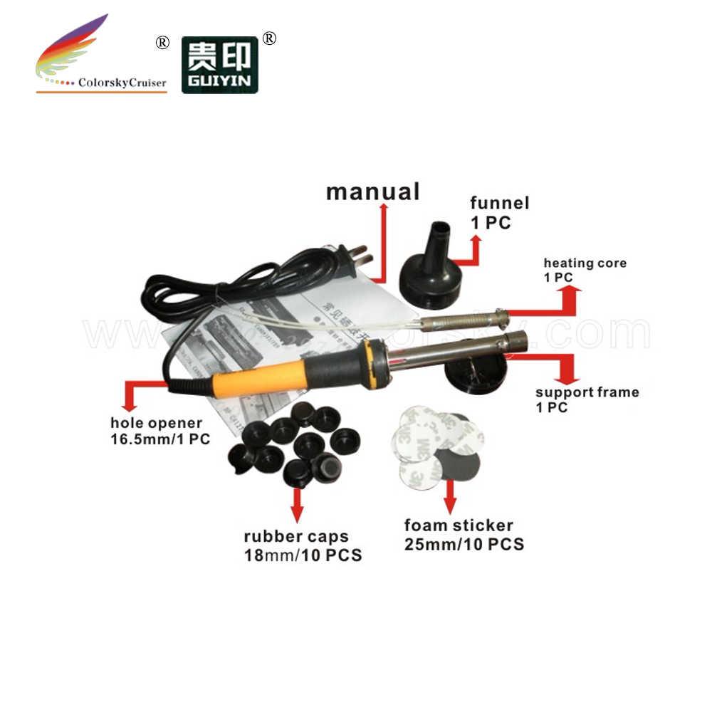 (RTT-18BK) חור הקודח דיגר וקצף מדבקת תקע כובע עבור HP עבור canon עבור lexmark טונר מחסנית מילוי כלי קיט