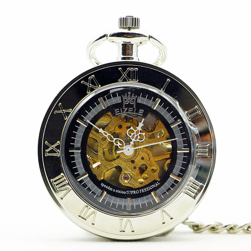 Luxury Fashion Retro Mechanical Pocket Watch Automatic Vintage Carving With Fob Chain Clock For Men Women PJX1188