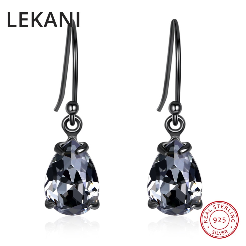 LEKANI Vintage Retro Black Water Drop Earrings Crystals From Swarovski For Women Party Gifts Real S925 Silver Fine Jewelry 2019
