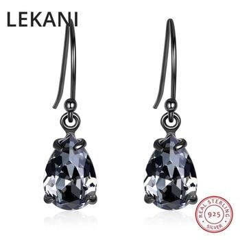01fdf4f573a4 LEKANI Vintage Retro Negro de agua pendientes de gota de cristales de  Swarovski para mujeres regalos de fiesta Real S925 de plata joyería fina  2019