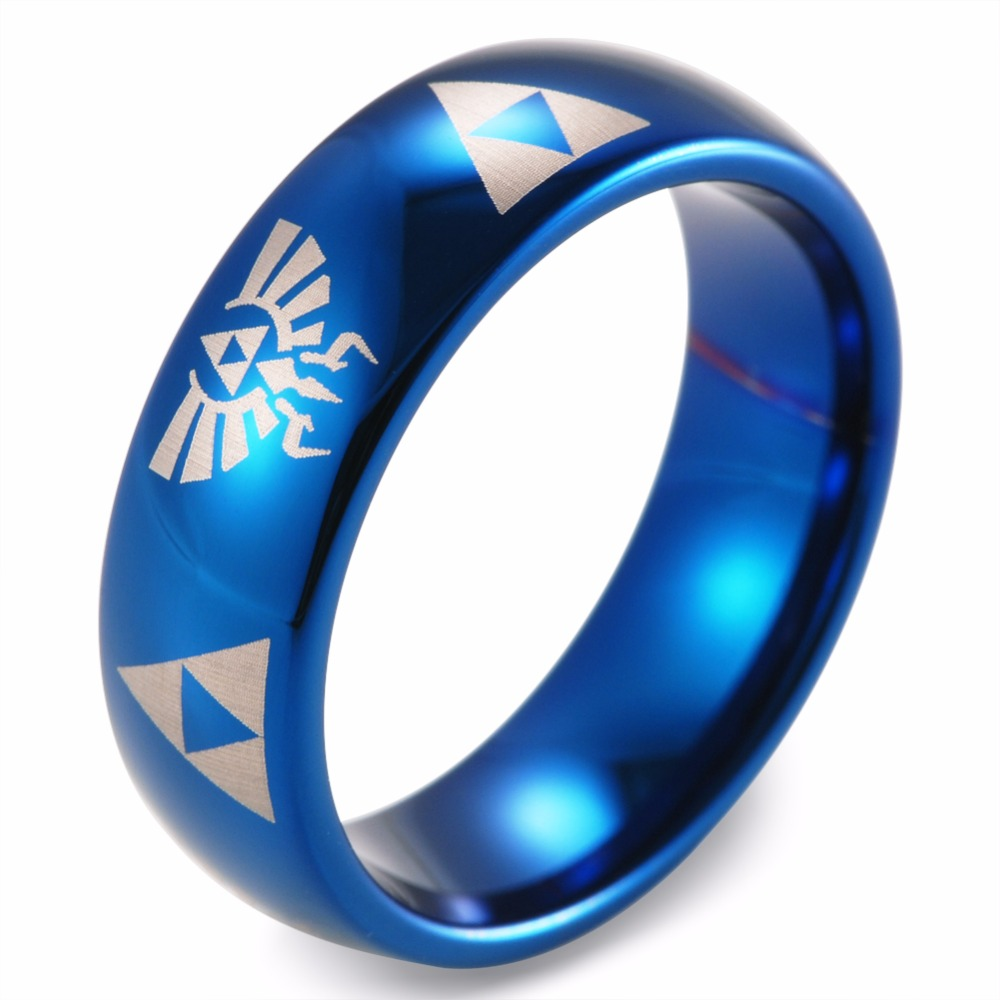 legend of zelda tungsten wedding band ring mens womens beveled edge brushed black fanatic geek anniversary engagement all sizes available 2 triforce wedding ring