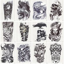 12 vellen Waterdichte 3D Arm Mouw Make Tijdelijke Tattoos Sticker Mannen Vrouwen Flash Tatoos Body Arts Badpak Makeup Tools(China)